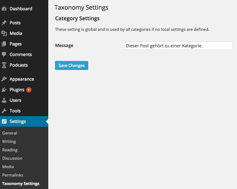 Tax-Settings: Screenshot der Einstellung im Backend