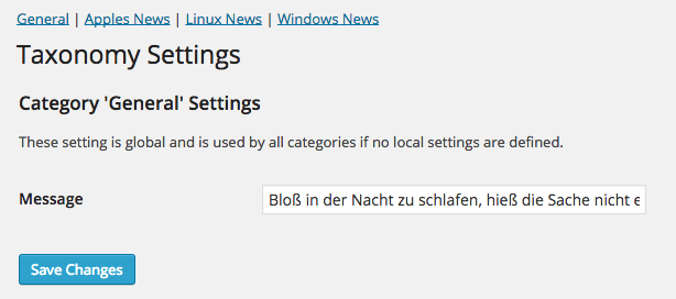 Tax-Settings: Screenshot der fertigen Settings page
