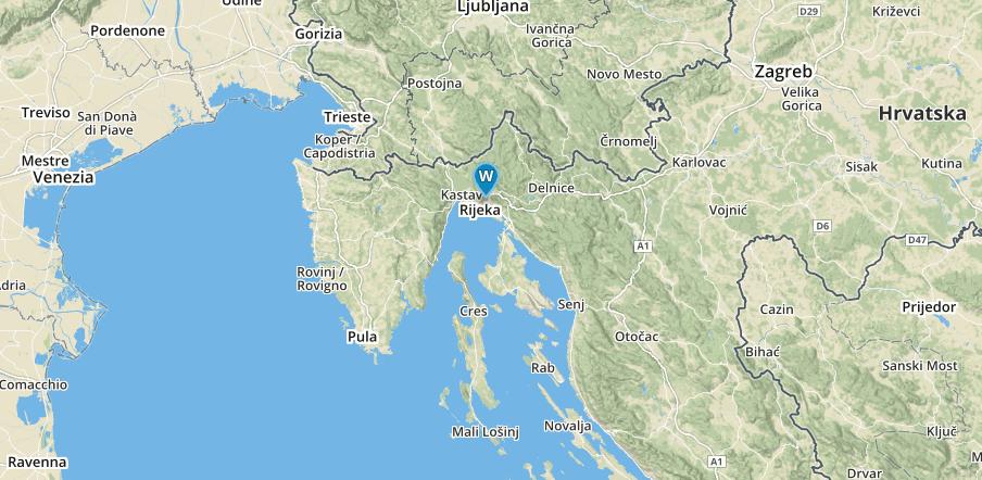 Karte von Kroatien mit einem Marke bei Rijeka