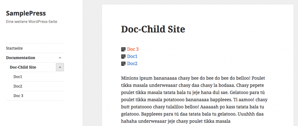 Child Page Tree: Liste mit Style