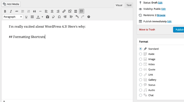 WordPres 4.3: Markdown