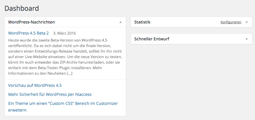 Screenshot der WordPress News im Dashboard