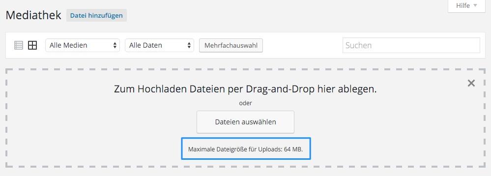 Wenn alles richtig konfiguriert ist kann man auch im Browser Dateien bis 64 MB hochladen.
