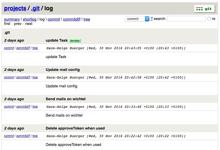 Screenshot des Log Views wie man es vom Terminal kennt.