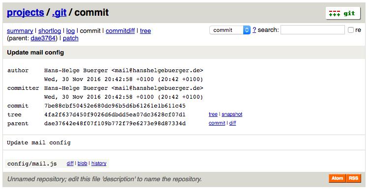 Screenshot vom Commit View. Hier sieht man alle Infos zum Commit, wie etwas Hash, Dateien, Committer und Author.