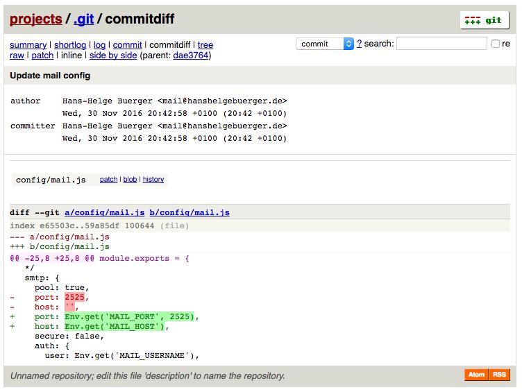 Screenshot des Diffs vom Commit