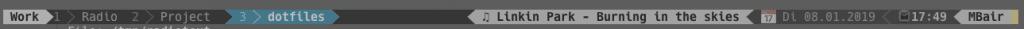 Screenshot meiner tmux Statusbar mit SWR3 Titel