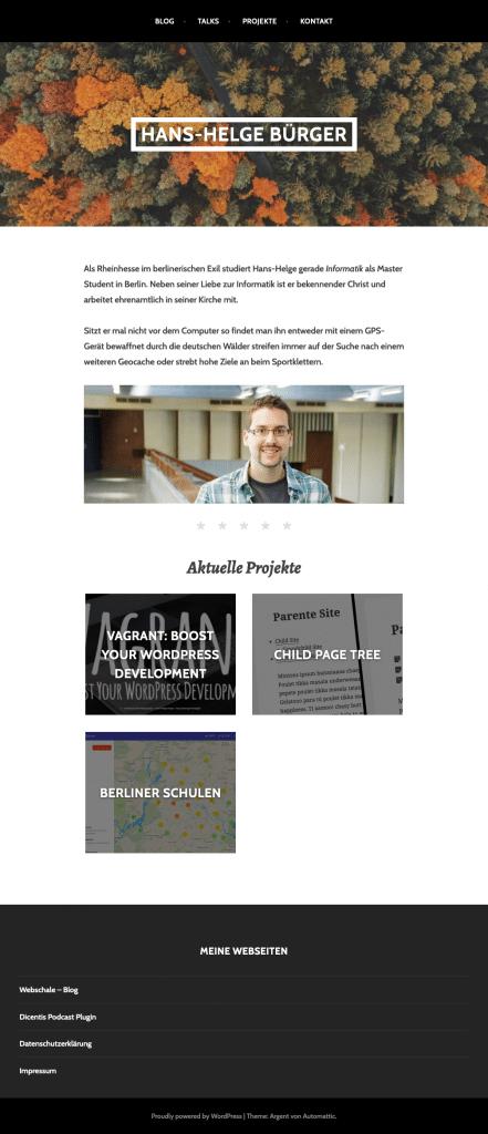 Screenshot der alten WordPress Seite